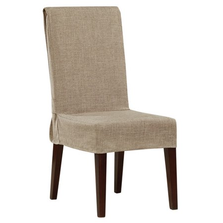 Sure Fit Textured Faux Linen Short Dining Room Chair Cover