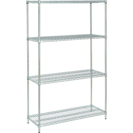 Nexel Wire Shelving Unit, Multiple Sizes Available, Zinc Chromate (Silver Display Unit)