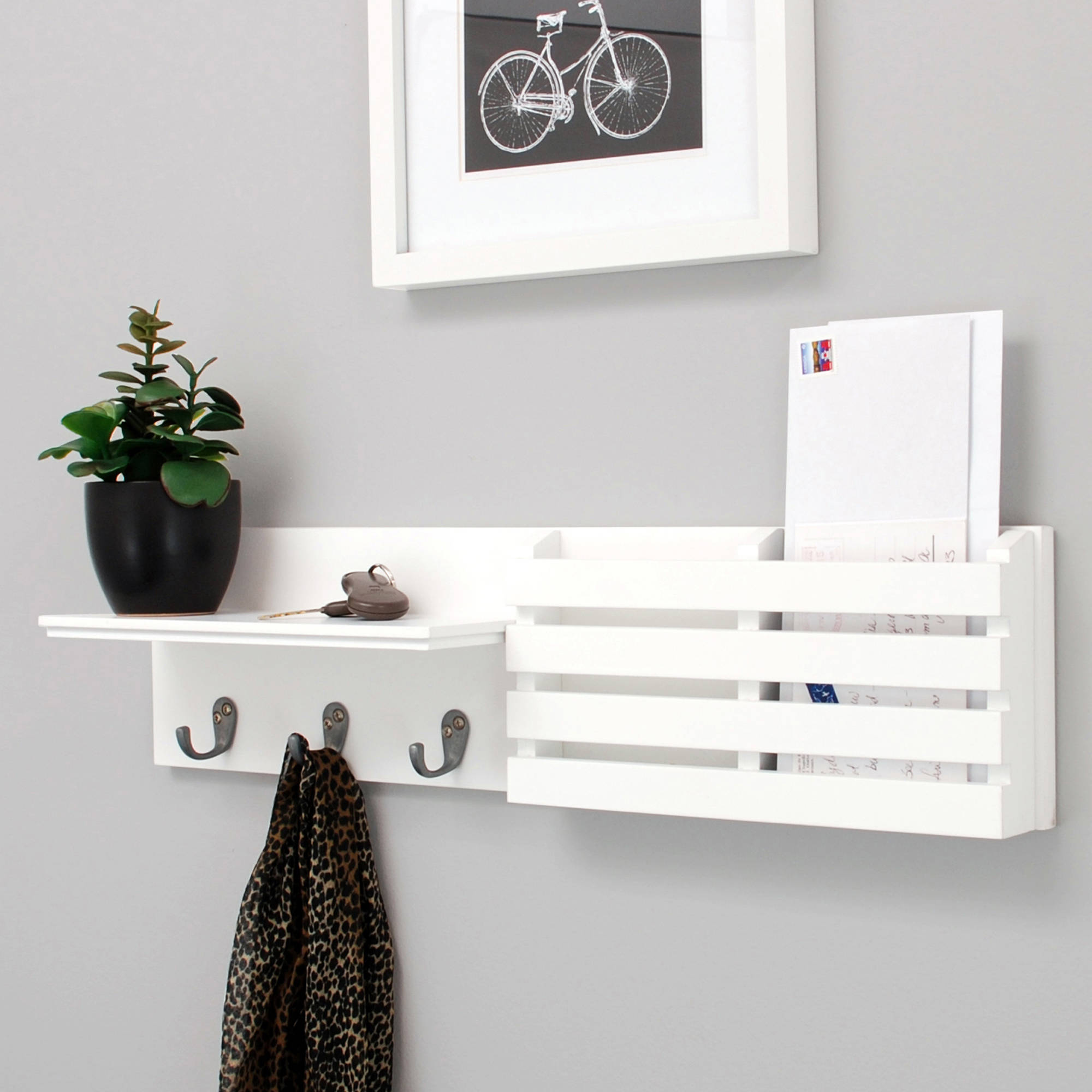 "Kiera Grace Sydney 24"" Wall Shelf and Mail Holder with 3 Metal Hooks, White"