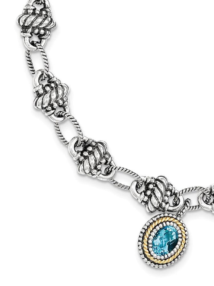 Sterling Silver With 14k Light Swiss Blue Topaz Bracelet 1.60 cwt by Jewelryweb