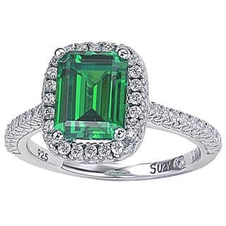 Sterling Silver Asscher-cut Green Cubic Zirconia Halo