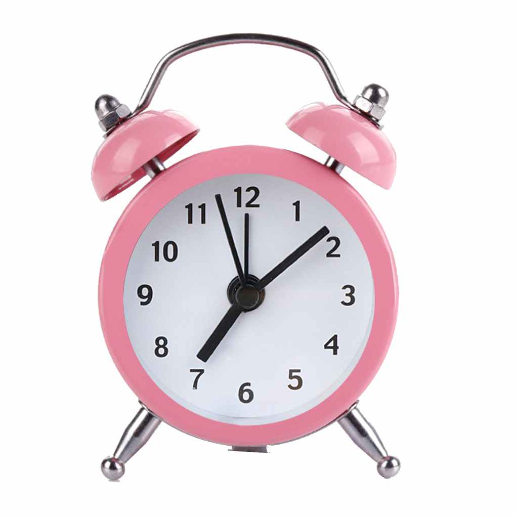 Mini Round Alarm Clock Desktop Table Bedside Clocks Kids Adults Travel Clock Decor