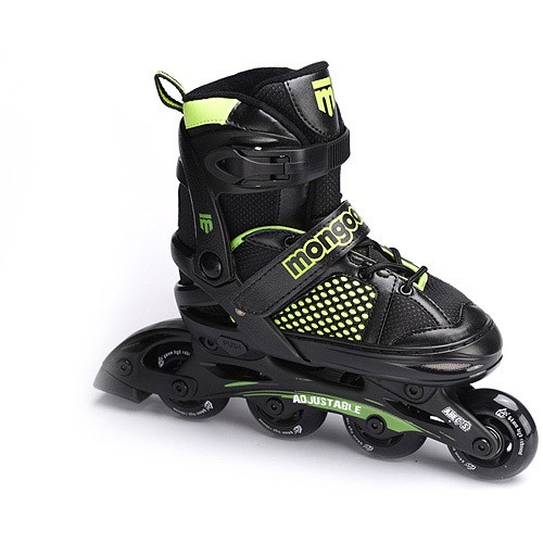Mongoose Boys' Adjustable Inline Skates, Black/Green