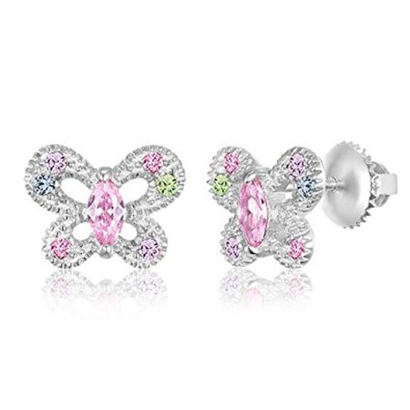 Children S Earrings 925 Sterling Silver With A White Gold Tone Crystal Erfly Back Kids