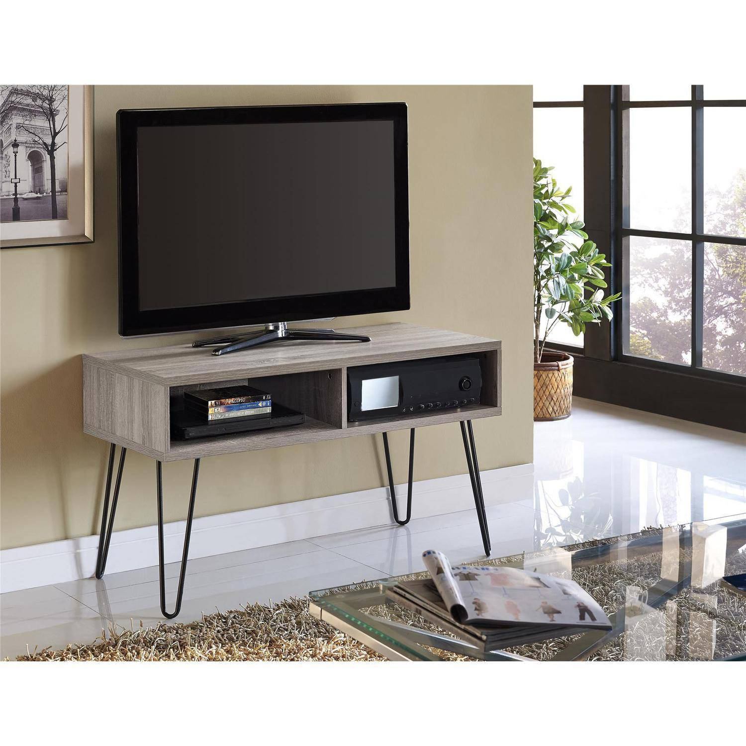 Television Tables Living Room Furniture Owen Retro Tv Stand For Tvs Up To 42 Sonoma Oak Walmartcom