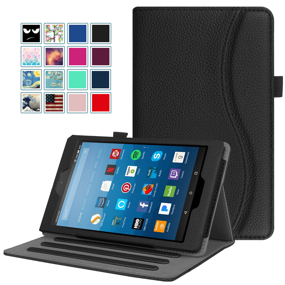 Fintie Case for Amazon Fire HD 8 Tablet - Multi-Angle Viewing Folio Stand Cover with Pocket Auto Wake/Sleep, Black