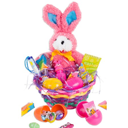 Halloween Treat Gift Baskets (Easter Ribbon Bunny Plush Toy 26pc Filled Gift Basket Kit, Treats More, 3)