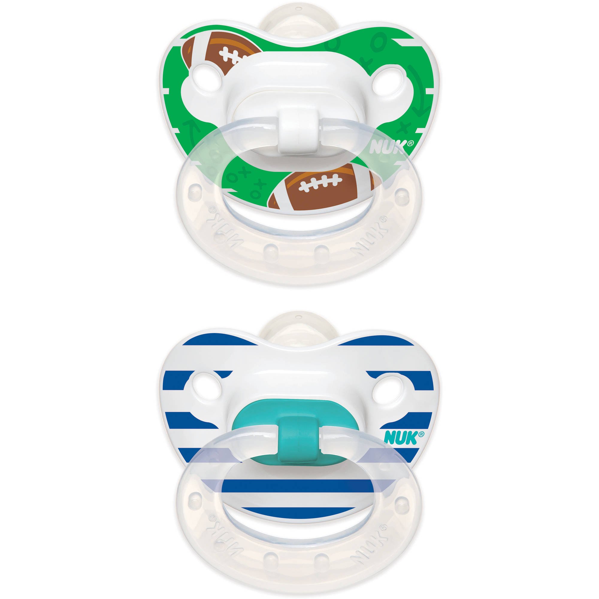 NUK Football Pattern Orthodontic Pacifier, 2pk