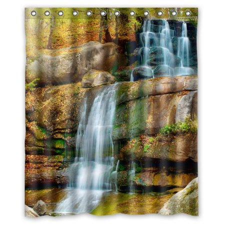 EREHome Waterfall Shower Curtain Polyester Fabric Bathroom Decorative Curtain Size 60x72 Inches - image 1 de 1