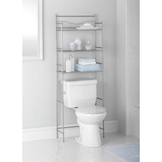 mainstays 3 shelf bathroom space saver satin nickel finish. Black Bedroom Furniture Sets. Home Design Ideas
