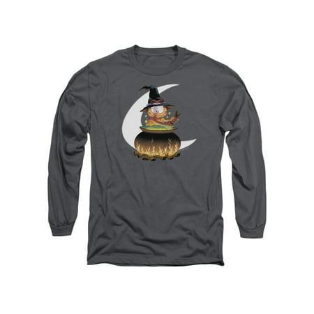 Garfield Classic Comic Cartoon Halloween Cauldron Adult Long Sleeve T-Shirt Tee