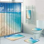 PRTAU Beach Sunny Summer Seashore with Clear Sky Seashells Starfish Clouds Aquatic Aqua 5 Piece Bathroom Set Shower Curtain Bath Towel Bath Rug Contour Mat and Toilet Lid Cover
