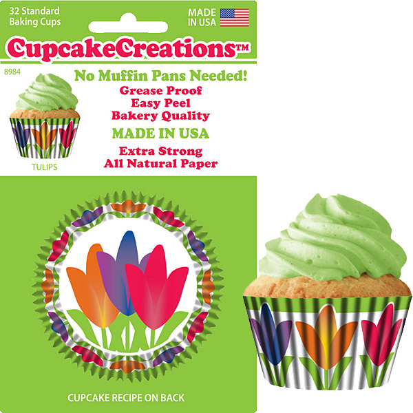 89842, Cupcake Creations, No Muffin Pan Required Baking Cups, Tulips by
