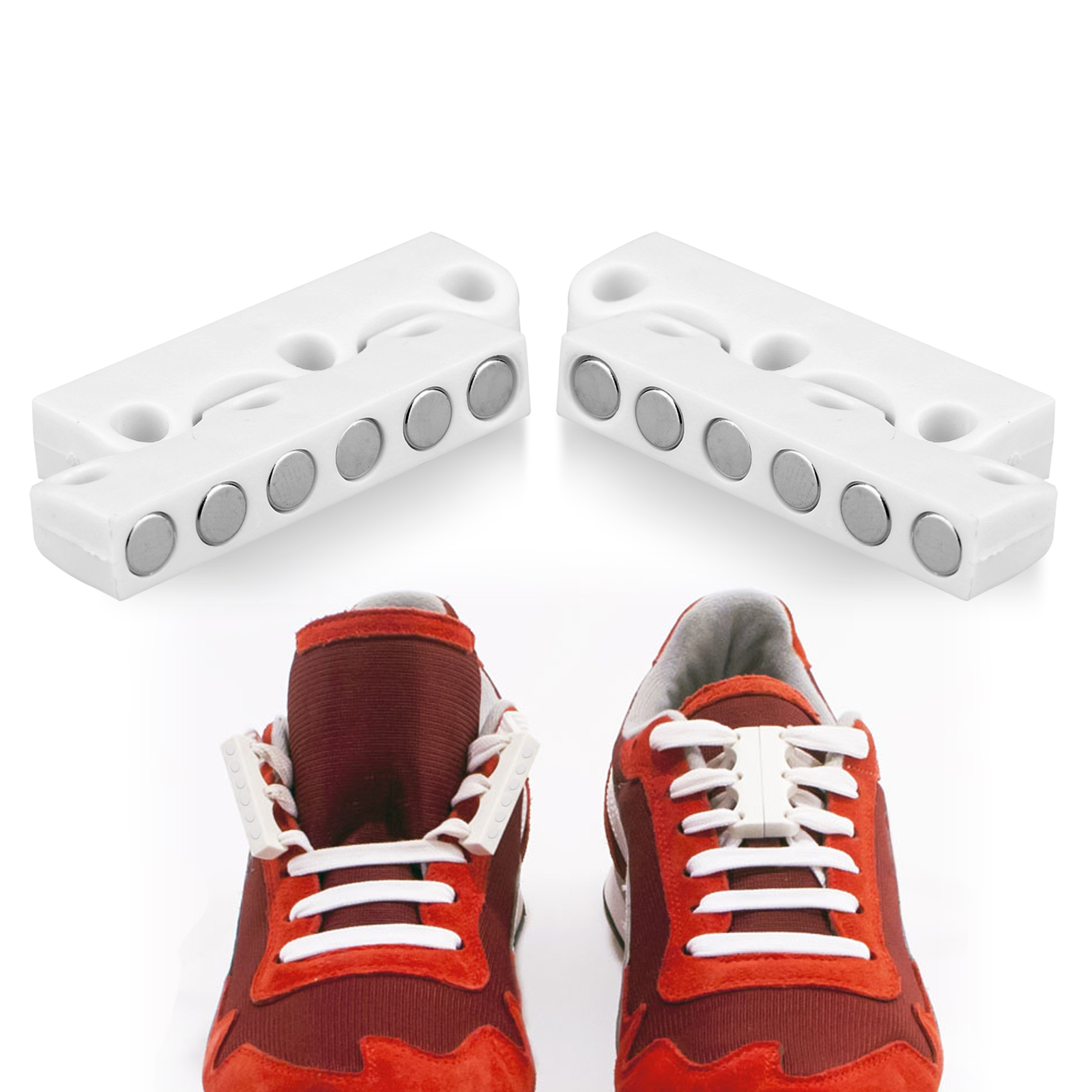 TSV Novelty DIY Shoe Buckles Sneaker No-Tie Magnetic Casual Closure Snap-in Shoelace for Adults & Kids - White