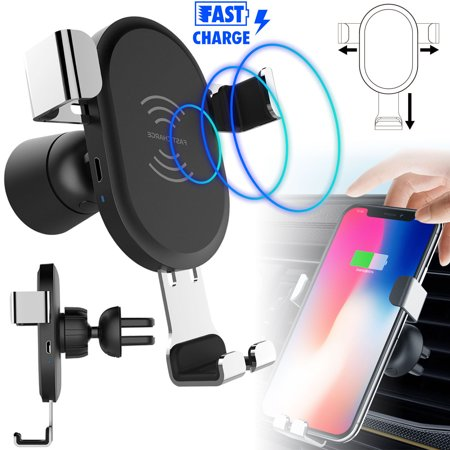 Fast Qi Wireless Car Charger, Car Cell Phone Charging Mount Holder 360 Degree Adjustment for iPhone XS/XR/X/8 Plus Samsung Galaxy S10/S10E/S9/S9 Plus/Note 9