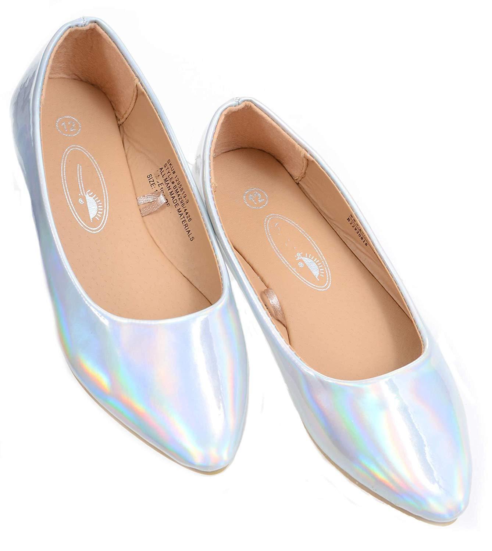 Iridescent Silver Shiny Girls Slip On