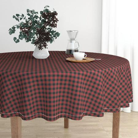 Round Tablecloth Buffalo Check Red Buffalo Check Buffalo Check Cotton Sateen