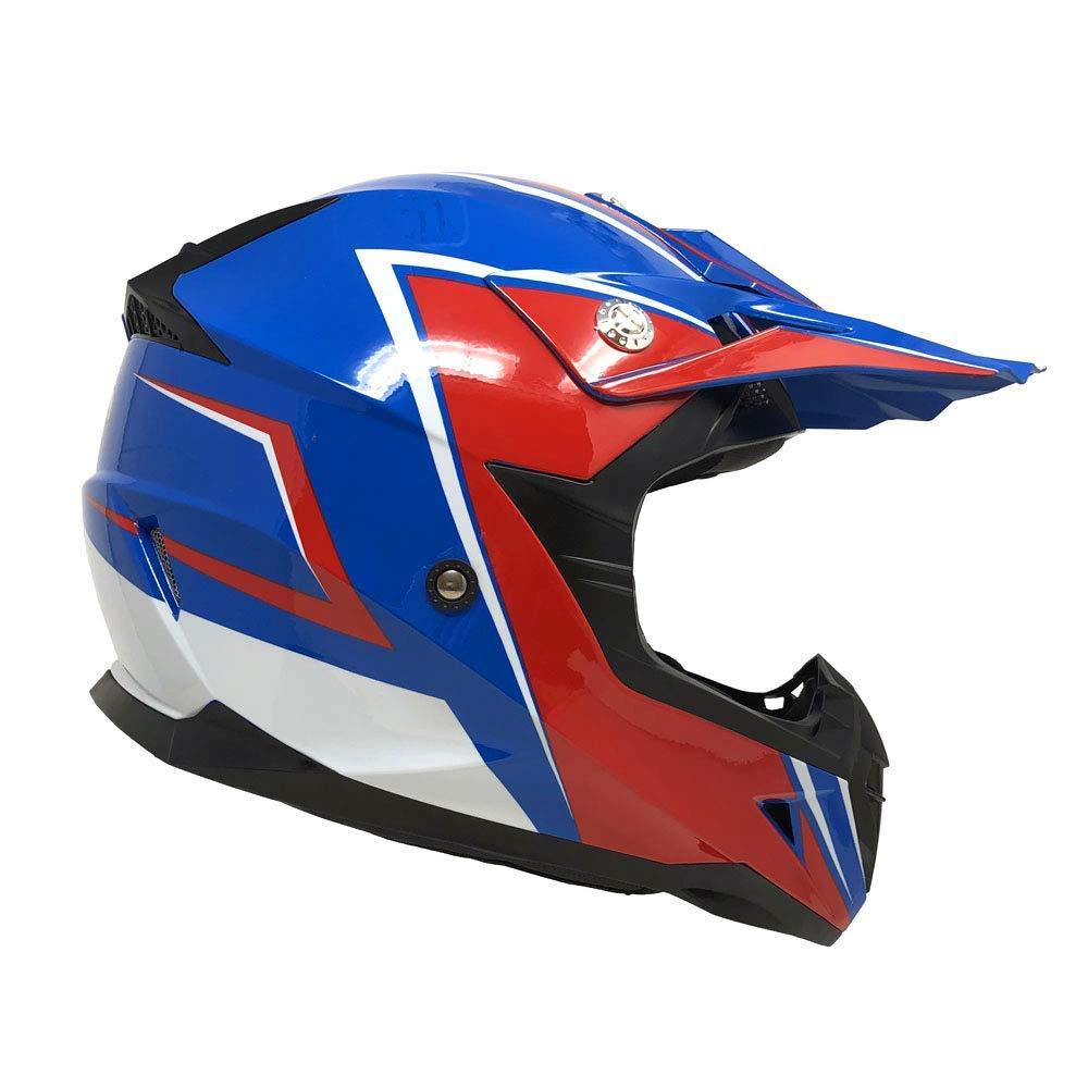 Motorcycle Adults Helmet Off Road MX ATV Dirt Bike Motocross UTV - Shiny Blue/Red (Large)