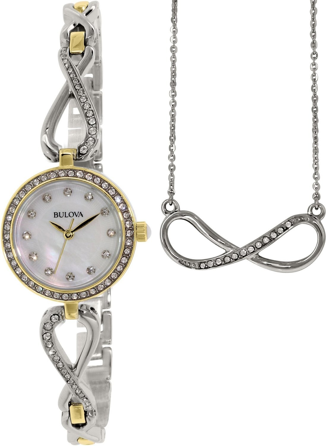 Womens Boxed Gift Set With Necklace Stainless Steel Case and Bracelet Pearl Dial Silver Watch - 98X109