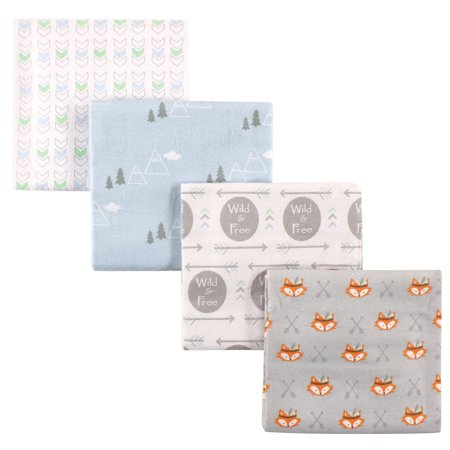 Toddler Flannel Blanket (Luvable Friends Basics Baby Flannel Receiving Blankets, 4-Pack - Wild & Free)