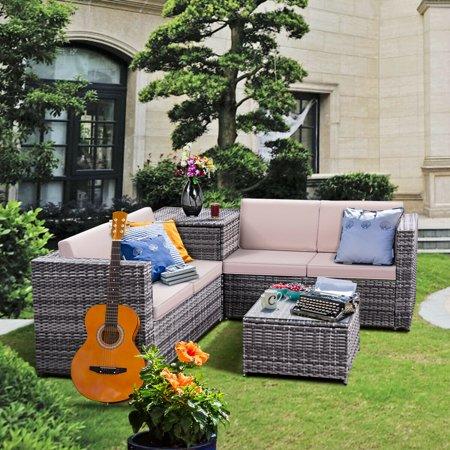 4pcs Patio Rattan Wicker Furniture Set Sofa Loveseat ...