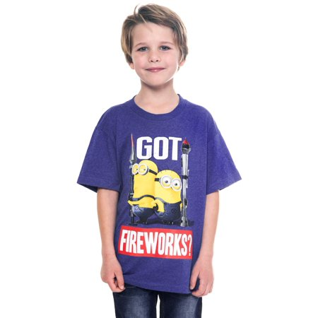 Boys Despicable Me Minions Fourth July 4th T-Shirt Got Fireworks Print Ages 7-12](Despicable Me Female Minion)