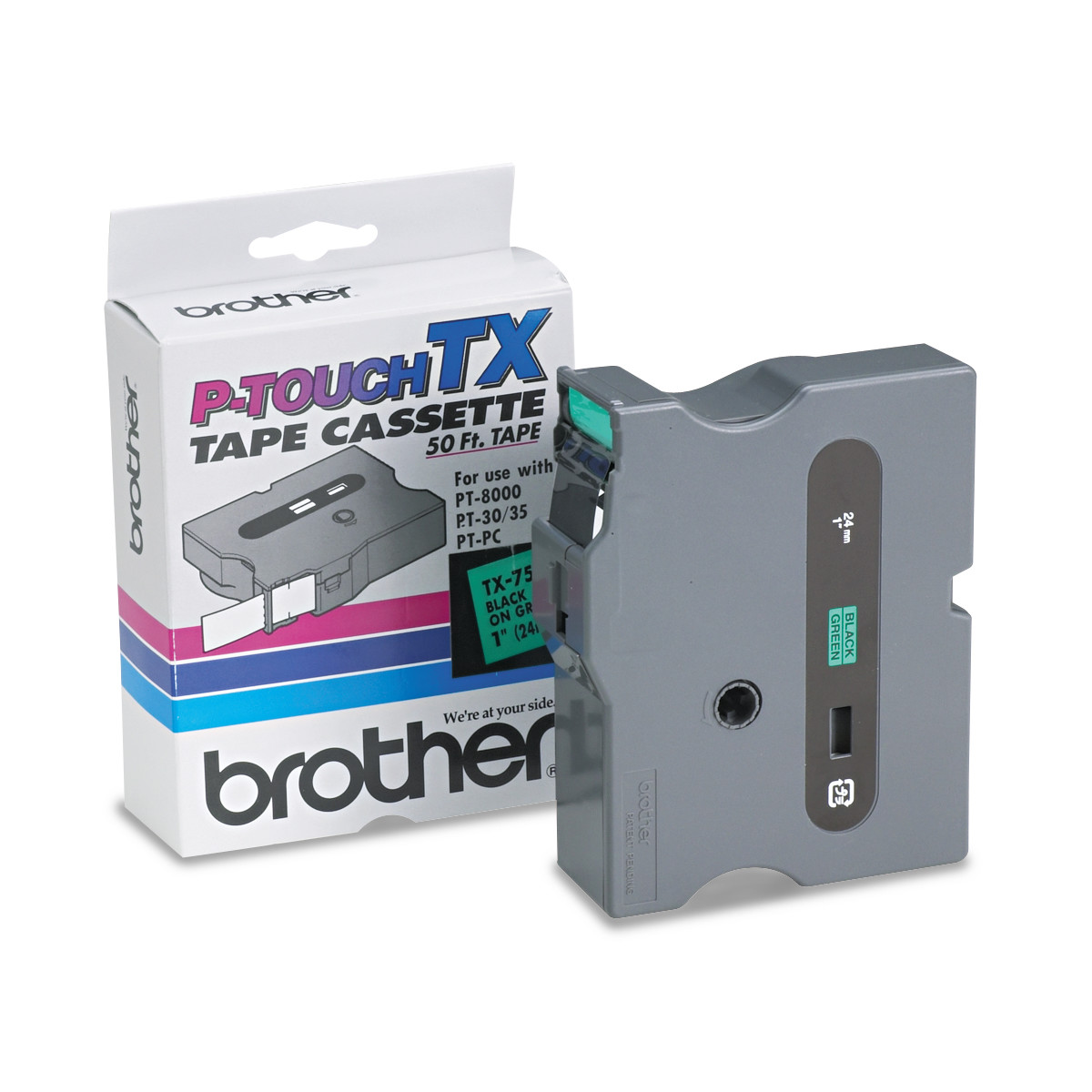"""Brother P-Touch TX Tape Cartridge for PT-8000, PT-PC, PT-30/35, 1""""w, Black on Green"""