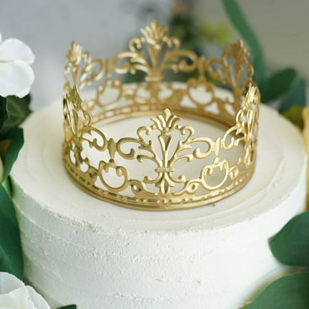BalsaCircle Gold Metal Crown Cake Topper Princess Kids Birthday Wedding Party - Horse Racing Cake Decorations