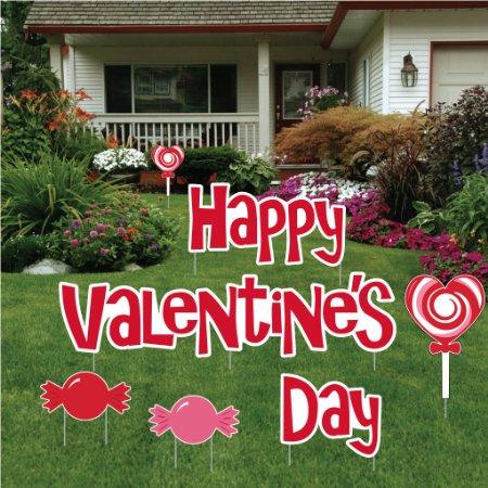 Valentine's Day Yard Decoration - Happy Valentine's Day with Candies