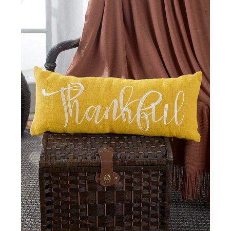 The Lakeside Collection Embroidered Burlap Bench Pillow - Thankful