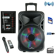beFree Sound 15 Inch BT Rechargeable Party Speaker With Illuminating Lights