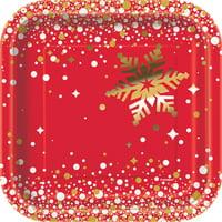 """7"""" Square Foil Gold Sparkle Christmas Paper Dessert Plates, 8ct"""