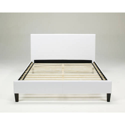 premier zurich faux leather full white upholstered platform bed frame with bonus base wooden slat system walmartcom