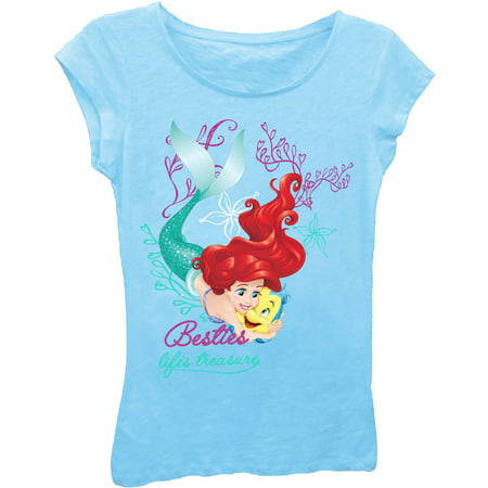 Disney Princess Toddler Girls' Besties - Life's Treasure Short Puff Sleeve Graphic (Princess Short Sleeve Tee)