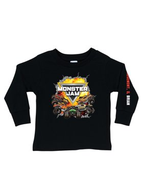 Personalized Monster Jam Challenge Boy's Black Long Sleeve Tee - S, M, L