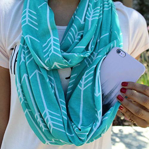 4cf1db4daa49c Pop Fashion - Women's Arrow Patterned Infinity Scarf with Zipper ...