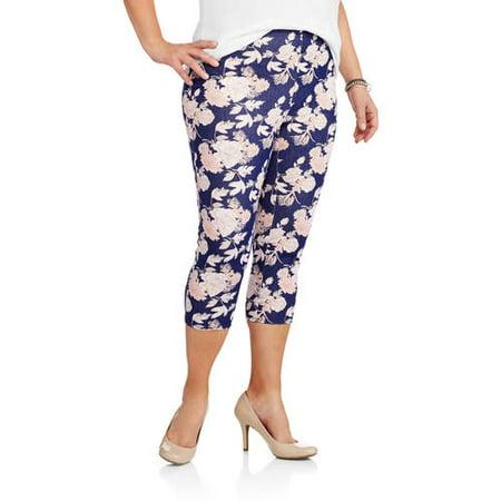 Faded Glory Women's Plus-Size Printed Capri Jeggings - Walmart.com