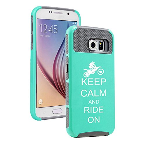 Samsung Galaxy S6 Shockproof Impact Hard Case Cover Keep Calm and Ride On Dirt MX Motocross Bike (Teal-Grey),MIP