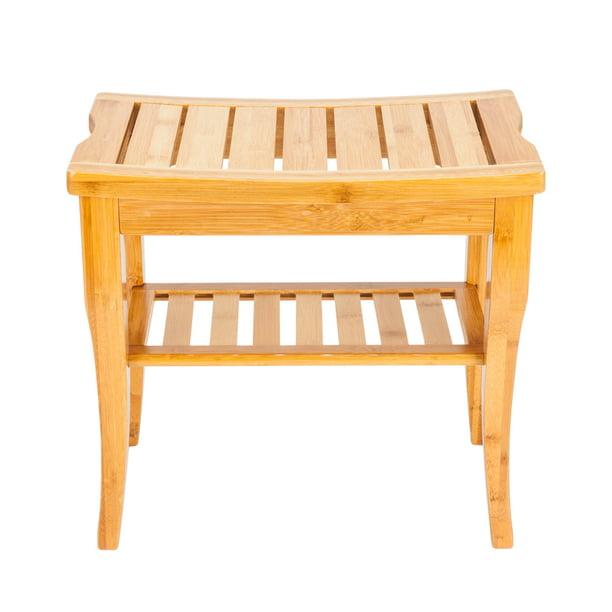 Zimtown Wooden Shower Stool Wood Bathroom Bench Seat Bamboo Bath Spa Sauna Chair Shelf Walmart Com Walmart Com