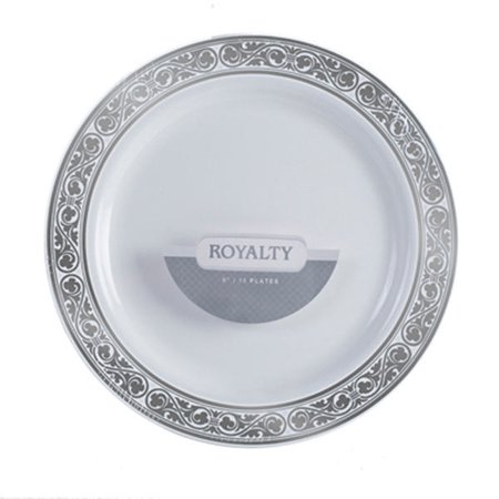 Royalty 6 Inch Plastic White Plates with Silver Band/Case of 120