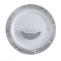 """Royalty 6"""" Dia. Plastic Dessert Plates White with Silver Band,Pack of 10 EA"""