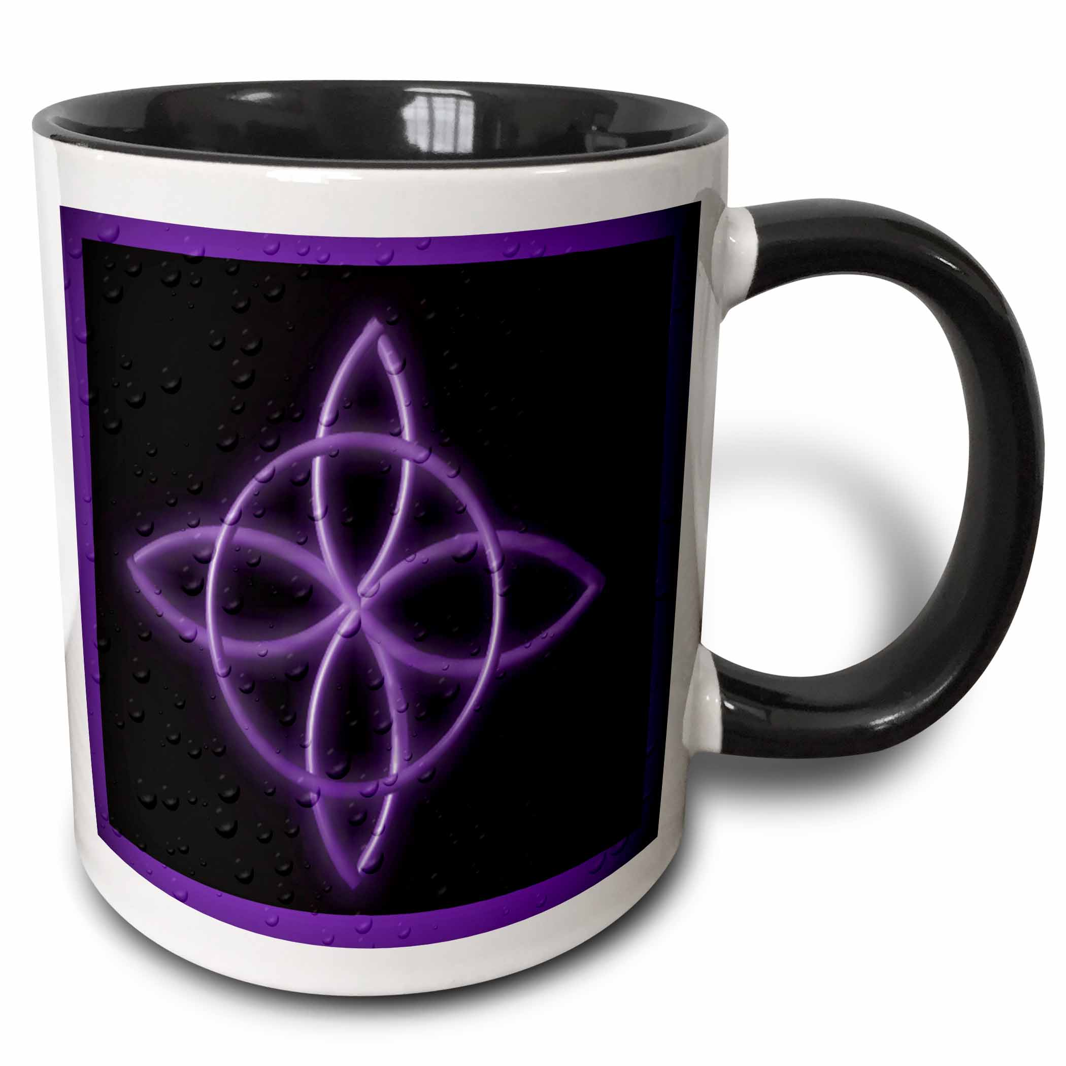 3dRose A Celtic design knot in purple, Two Tone Black Mug, 11oz