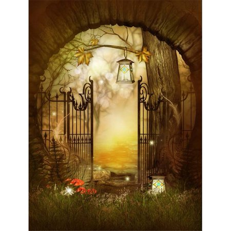 HelloDecor Polyester Fabric Halloween Backdrop Photography 5x7ft Wood Door Background Forest for Kids Photo Backdrop for Party Photocall](Background Halloween Music For Kids)