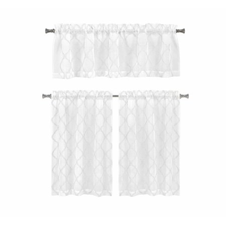 Home Maison 3 Piece Window Curtain Set with Embroidered Metallic Diamond Trellis Design, One Valance, Two Tiers 36 IN Long (White)