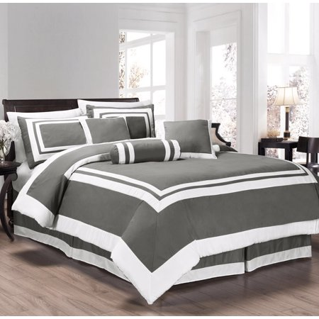 Chezmoi collection caprice 7 piece square pattern hotel for Hotel style comforter