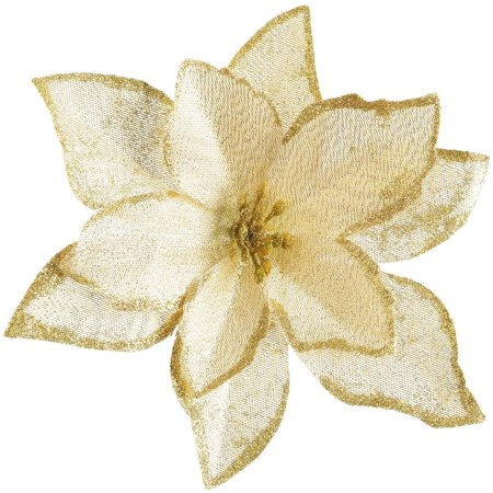Coolmade 20 Pcs Christmas Poinsettia Flowers, Artificial Flowers Glitter Poinsettia Christmas Tree Ornaments for Christmas Decorations, Gold
