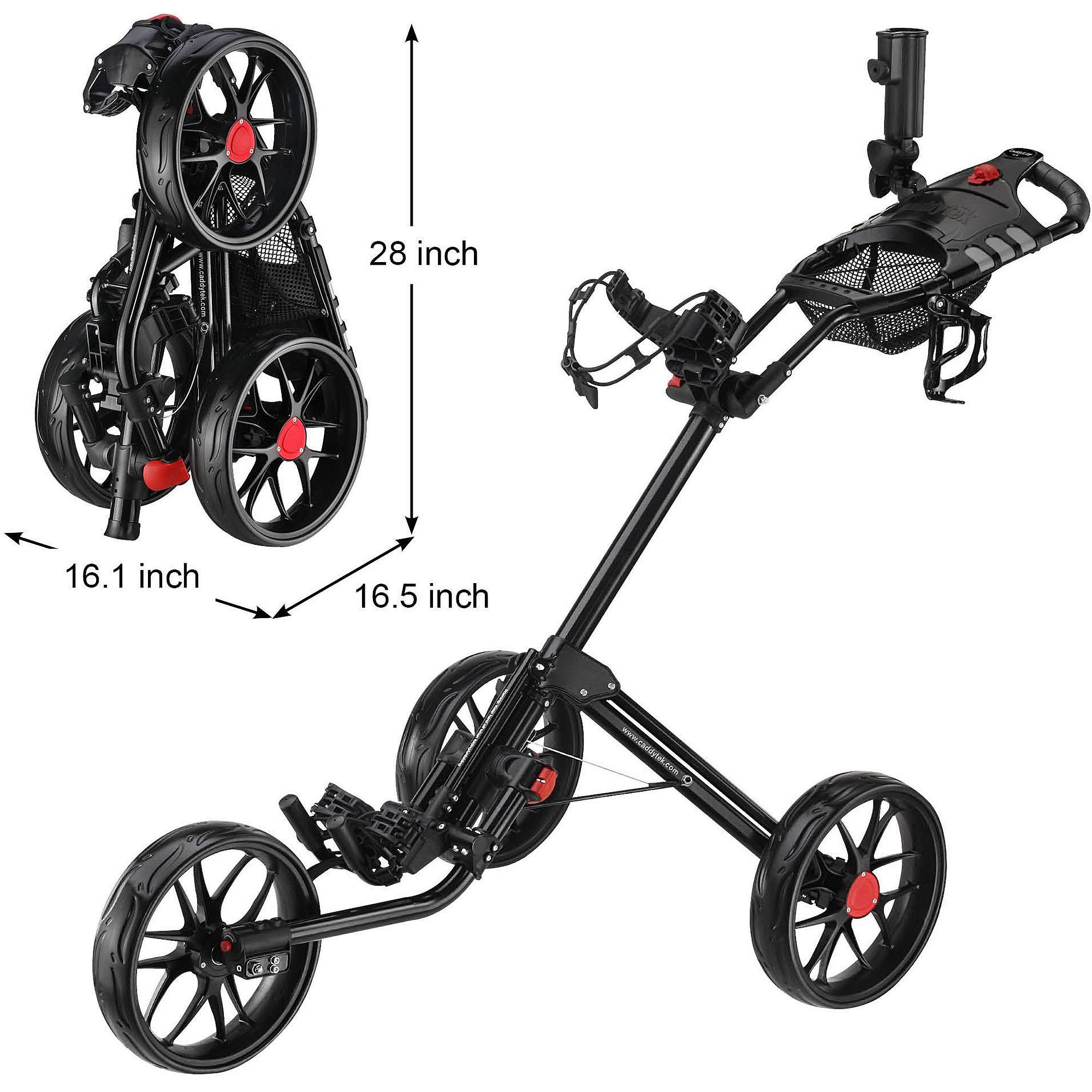 CaddyTek Super Deluxe Quad-Fold Golf Push Cart, Black