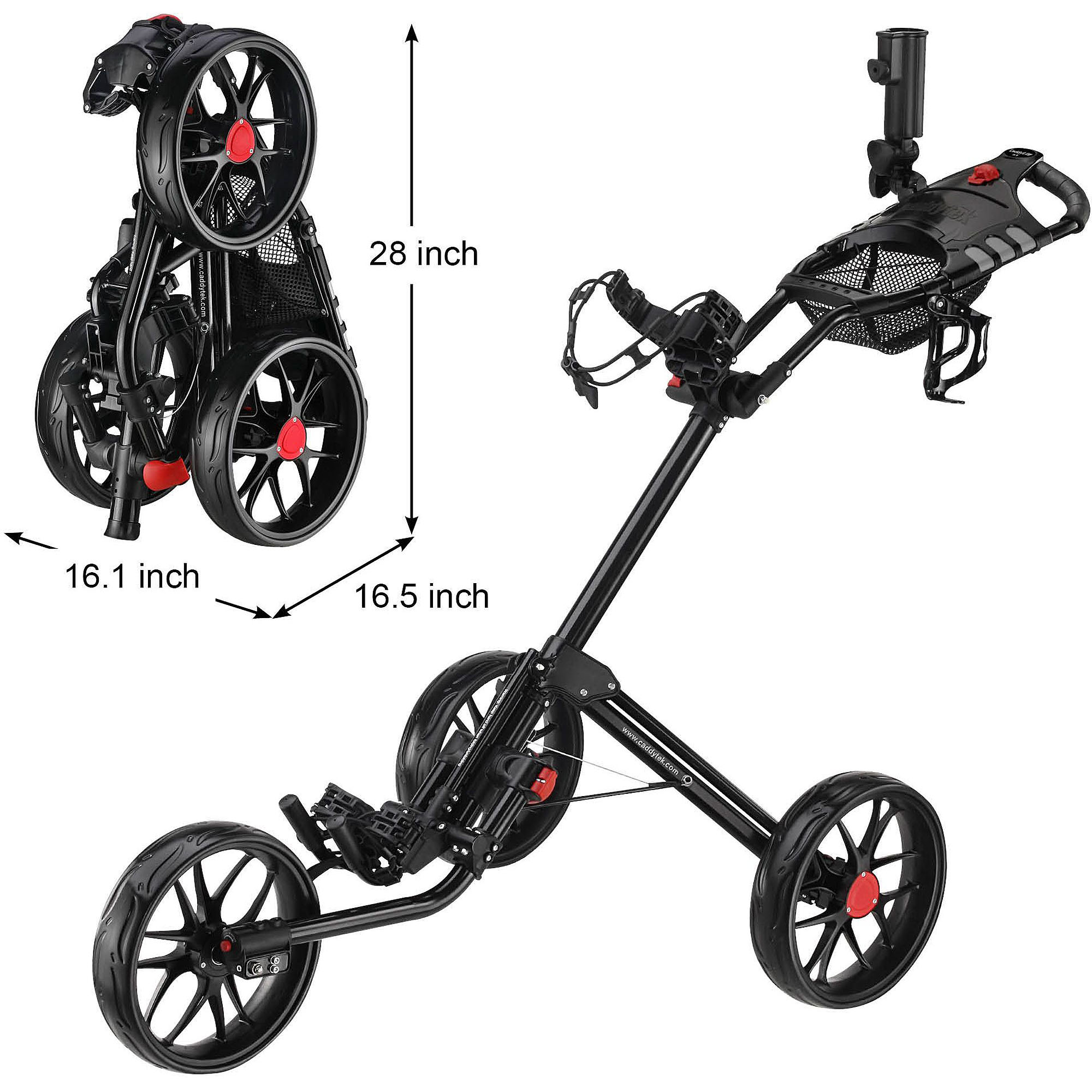 CaddyTek Super Deluxe Quad-Fold Golf Push Cart, Black