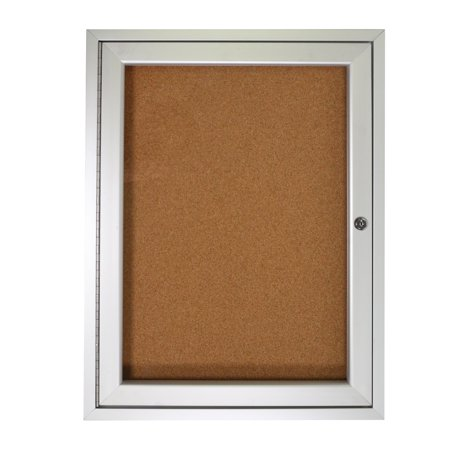 1 Door Enclosed Natural - PA12418K Ghent Enclosed Bulletin Board 1 Door Natural Cork TackBoard with Satin Frame Notice board, 24-in H x 18-in W