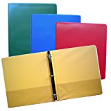 Blue, Green, Red and Yellow 3-Ring Binders, 1.5 inch Capacity, 8.5 x 11, Box of 4